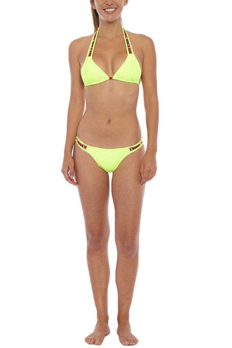 SOLKISSED Machu Picchu Brazilian Bottom Bikini Bottom | Neon Lime| Solkissed Machu Picchu Brazilian Bikini Bottom