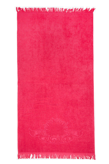 SUN OF A BEACH Fringe Towel - Watermelon Pink Towel | Watermelon Pink| Sun Of A Beach  Fringe Towel - Watermelon Pink Vibrant pink beach towel with burnt out logo and fringe. Made from the finest Egyptian cotton, these towels are extremely fluffy and soft, as well as very absorbent. Front View