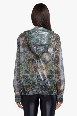 KORAL Sonorous Rebel Anorak Jacket - Digi Camo Print Activewear | Digi Camo Print| Koral Sonorous Rebel Anorak Jacket - Digi Camo. Features:  Relaxed fit Sheer, digital-inspired Mesh camouflage fabrication Hood with drawcord Front pouch pocket with snap-front closure Elastic cuffs and hem Made in USA Back View