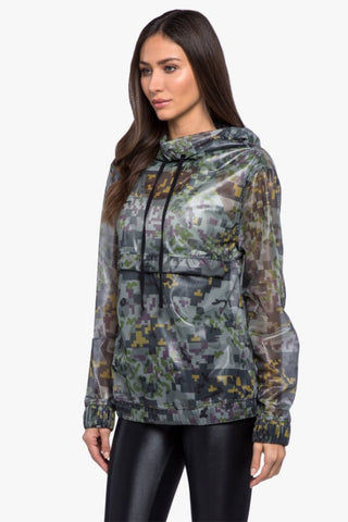 KORAL Sonorous Rebel Anorak Jacket - Digi Camo Print Activewear | Digi Camo Print| Koral Sonorous Rebel Anorak Jacket - Digi Camo. Features:  Relaxed fit Sheer, digital-inspired Mesh camouflage fabrication Hood with drawcord Front pouch pocket with snap-front closure Elastic cuffs and hem Made in USA Front View