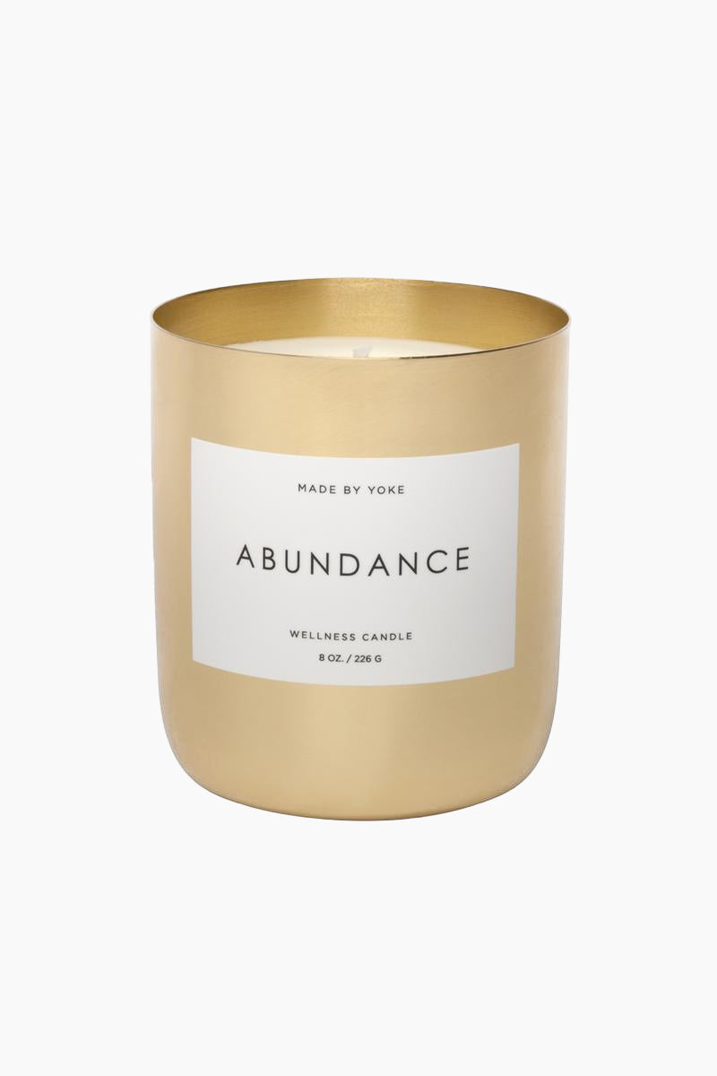 MADE BY YOKE Soy Yoke Wellness Candle: Abundance - 8 oz Home | Made by Yoke Soy Yoke Wellness Candle: Abundance - 8 oz Our unique candle vessels are hand-forged and brass-plated. Each vessel is individually crafted by a traditional metal smith. Front View