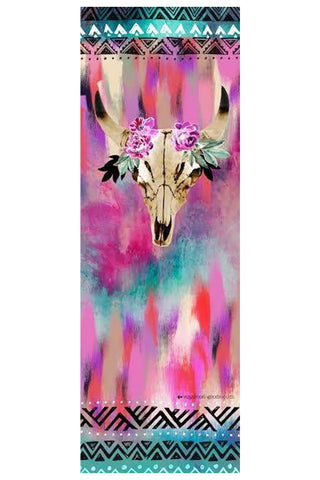 VAGABONDS GOODS Spirit Dancer Yoga Mat Yoga Mat | Spirit Dancer| Vagabond Goods Spirit Dancer Yoga Mat Non-Slip Extra-Thick Lightweight Yoga Mat Non-Toxic Solvent-Free UV-Cured Inks Pillow Texture Vibrant Animal Skull Watercolor Print