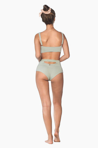 MALAI Splice Front Tie Bikini Top - Roseda Green Bikini Top | Roseda Green| Malai Splice Front Tie Bikini Top - Roseda Green. Features:   Square Neckline Bralette Style Thick Adjustable Shoulder Straps Thick Front Tie Detail Padding Back View