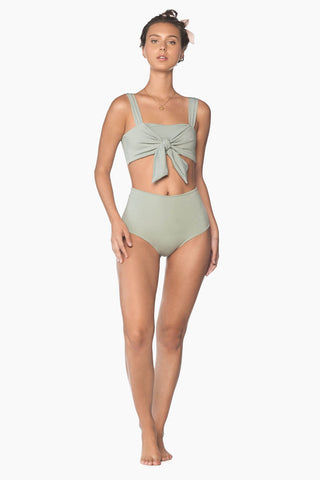 MALAI Splice Front Tie Bikini Top - Roseda Green Bikini Top | Roseda Green| Malai Splice Front Tie Bikini Top - Roseda Green. Features:   Square Neckline Bralette Style Thick Adjustable Shoulder Straps Thick Front Tie Detail Padding   Front View