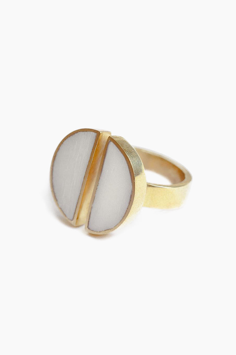 SOKO JEWELRY Split Moon Ring - White Jewelry | White| Soko Jewelry Split Moon Ring - White Split white horn brass ring   Recycled polished brass Handcrafted in Kenya Front View