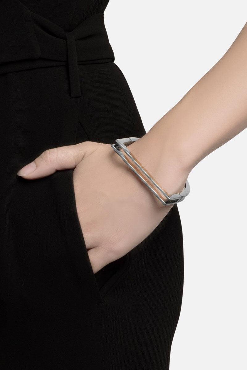MIANSAI Square Bar Cuff - Silver Jewelry   Silver  Miansai square bar cuff on model view Timeless sterling silver square bar cuff bracelet.