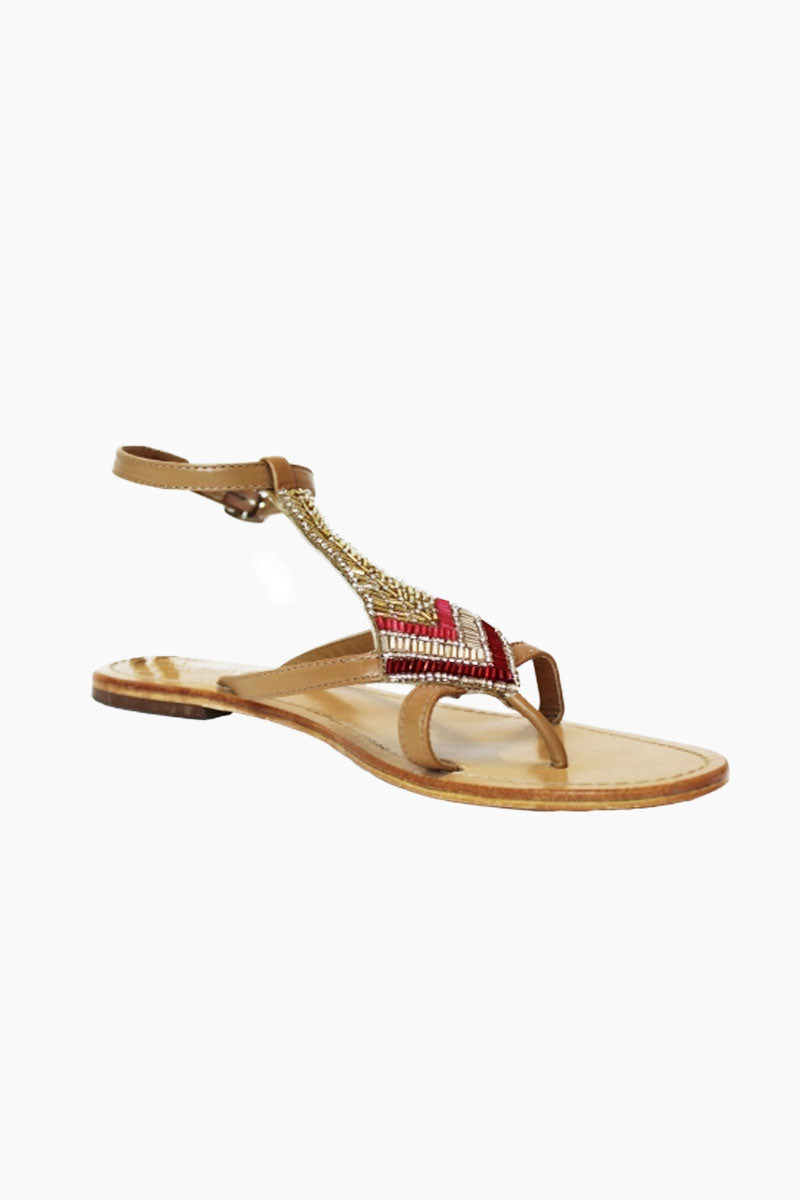 ASPIGA Sresha Sandals - Red Sandals | Red| Aspiga Sresha Sandals - Red Strappy, toe post design Diamond shaped beadwork detail in shades of rich reds and metallic golds Adjustable ankle straps Non slip flat heel Genuine tan leather upper Side View