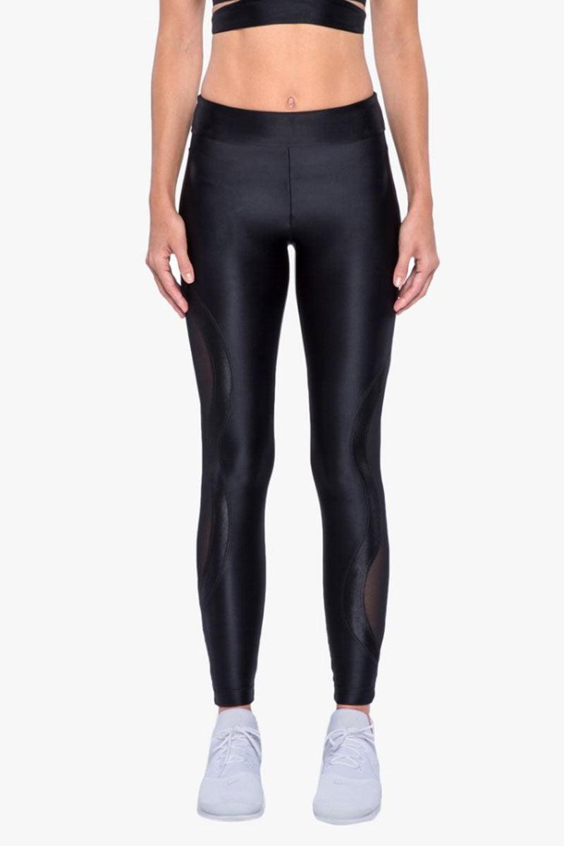 KORAL Stance High Rise Leggings - Black Leggings | Black| Koral Stance High Rise Legging - Black. Features:   High Rise Leggings Mesh Panel at  Waistband & Side of Leg Made in USA Front View