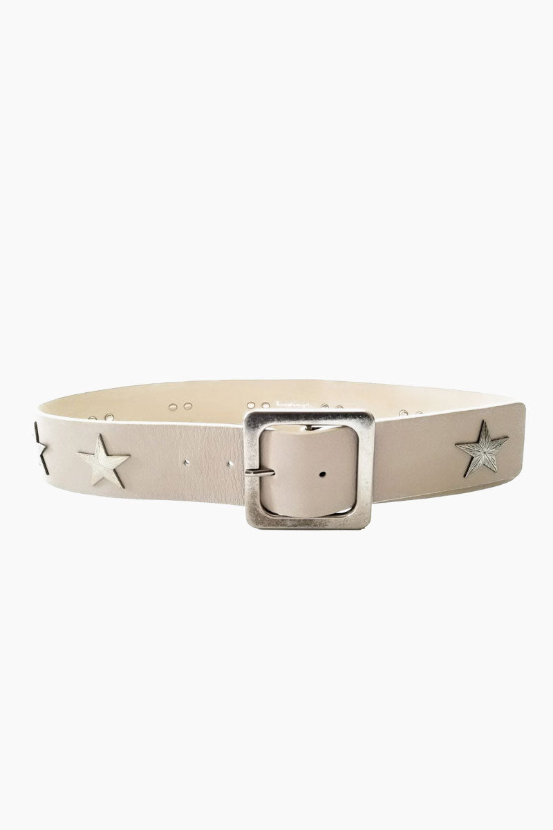 LOVESTRENGTH Starburst Leather Belt - Natural Accessories | Natural| Love Strength Starburst Leather Belt - Natural. Features:  Genuine Leather Genuine Suede Backing Antique nickel/nickel star rivets and buckle Import Front View