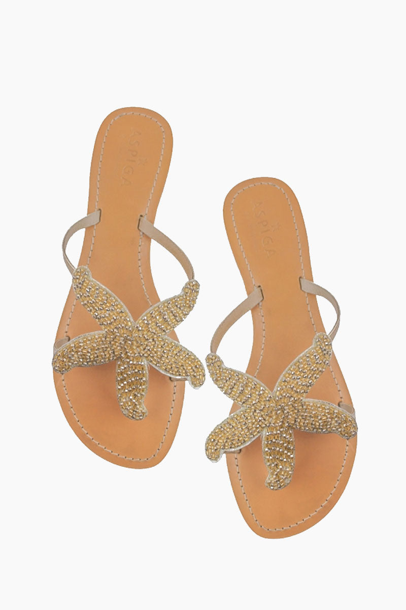 ASPIGA Starfish Sandals - Gold Sandals | Gold| Aspiga Starfish Sandals - Gold Flip flop style Gold beaded starfish design  Non slip heel Genuine tan leather upper Hand crafted  Front View