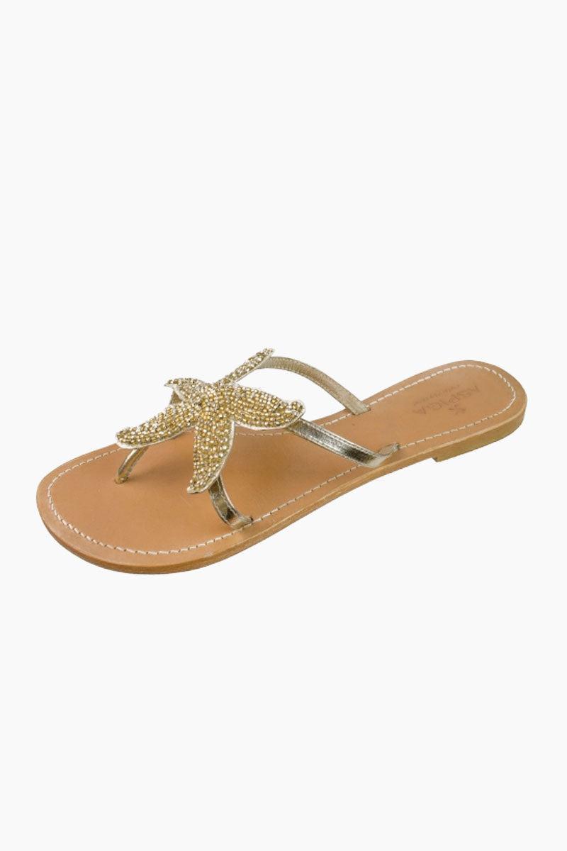 ASPIGA Starfish Sandals - Gold Sandals | Gold| Aspiga Starfish Sandals - Gold Flip flop style Gold beaded starfish design  Non slip heel Genuine tan leather upper Hand crafted  Side View