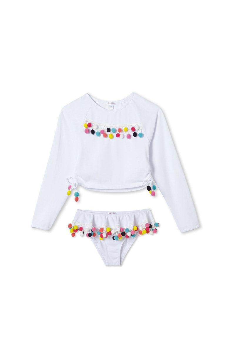 STELLA COVE White Pom Pom Rashguard Set (Kids) Kids Bikini | White Pom Pom|White Pom Pom Rashguard Set (Kids)