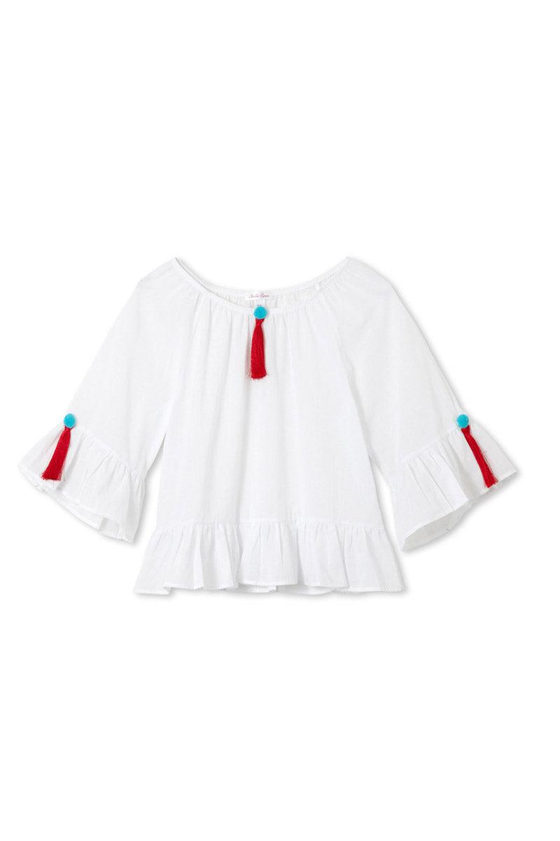 STELLA COVE White Pom Pom Tassel Kaftan (Kids) Kids Resort | White Pom Pom|White Pom Pom Tassel Kaftan (Kids)