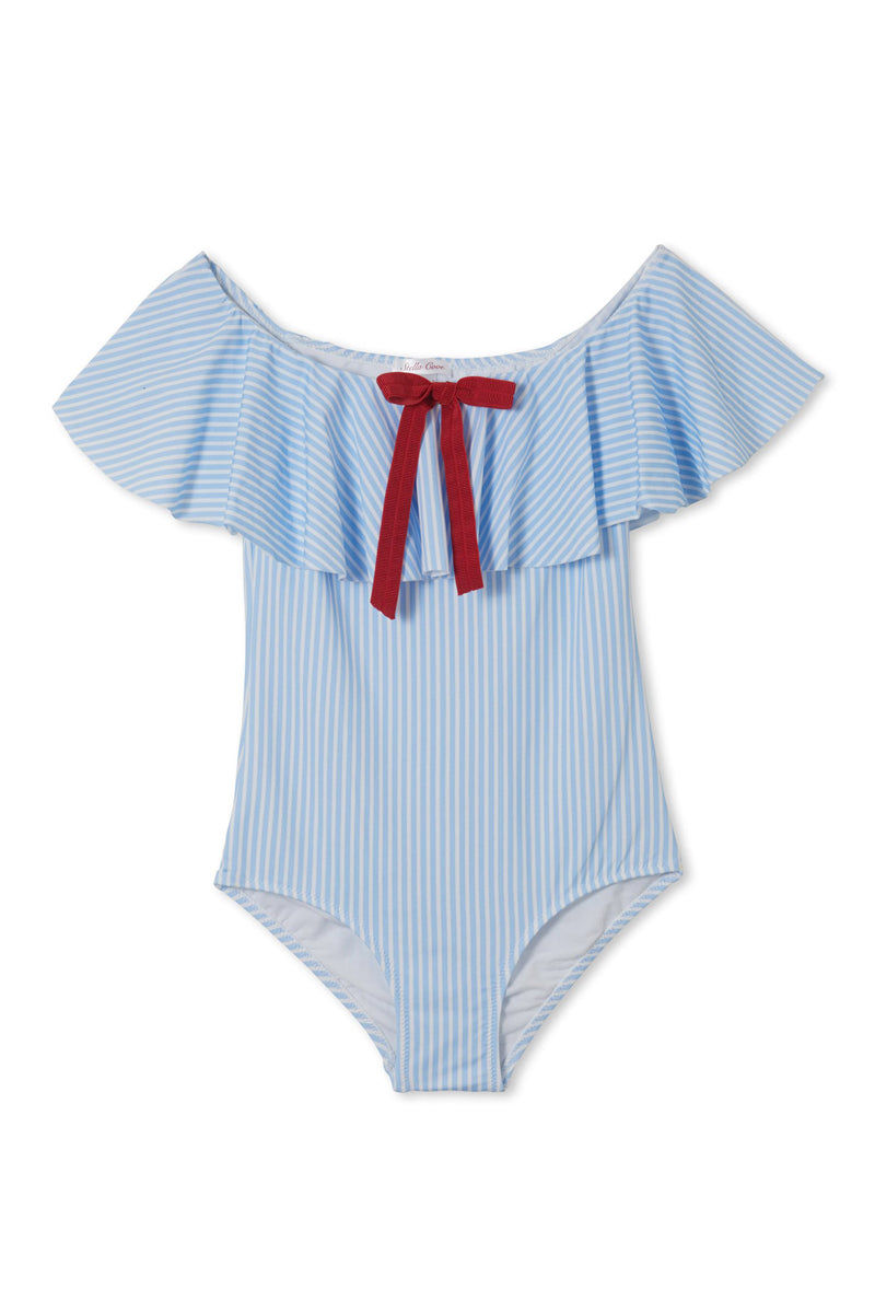 STELLA COVE Blue Striped Red Bow One Piece Swimsuit (Kids) Kids One Piece | Blue Striped|Blue Striped Red Bow One Piece Swimsuit (Kids)