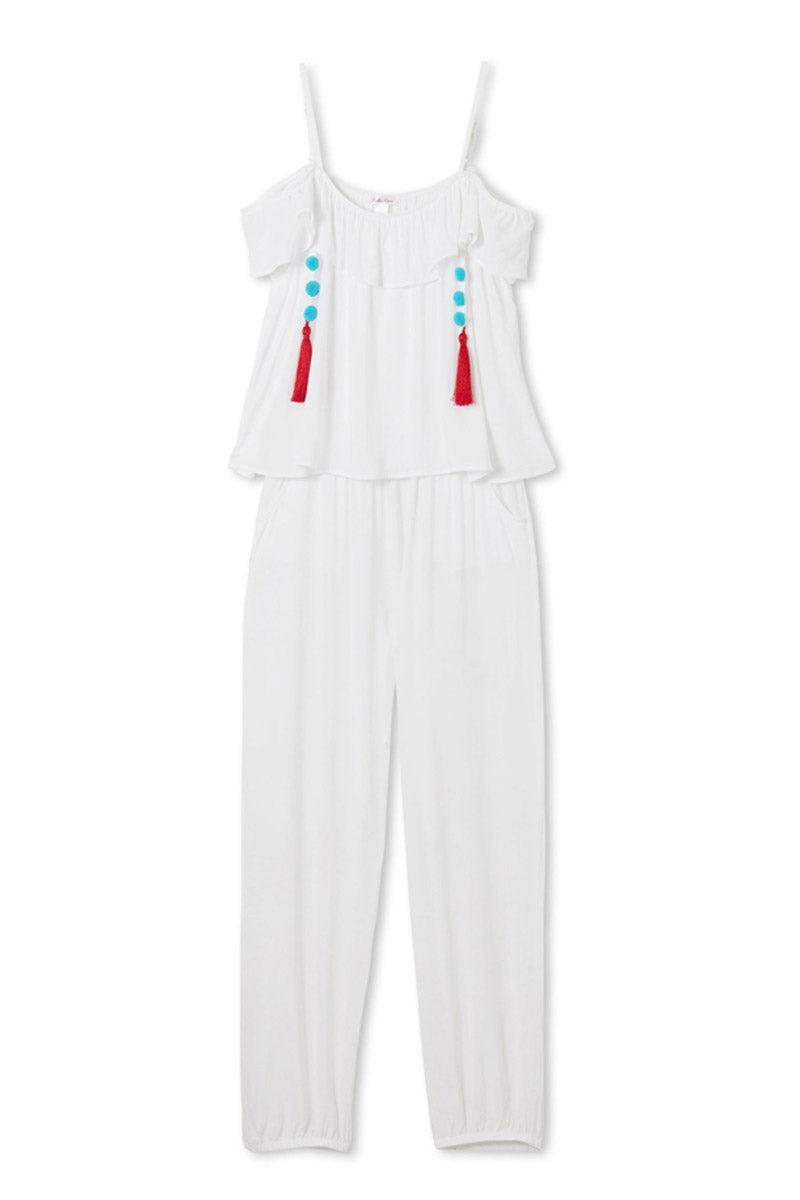 STELLA COVE White Pom Pom Tassel Jumpsuit (Kids) Kids Resort   White Pom Pom White Pom Pom Tassel Jumpsuit (Kids)