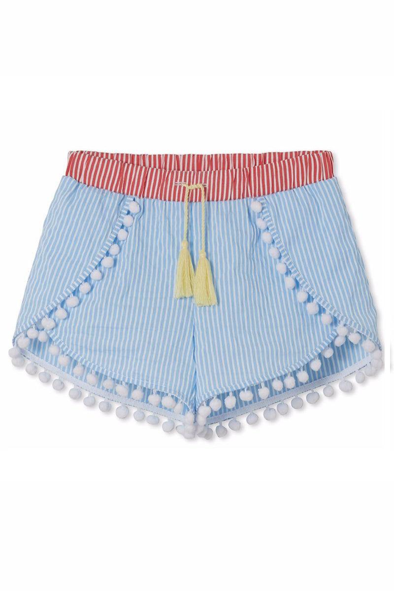 STELLA COVE Blue & Red Striped Pom Pom Shorts With Tassel (Kids) Kids Resort | Blue Striped| Blue Striped Shorts w/ Gold Tassel (Kids)