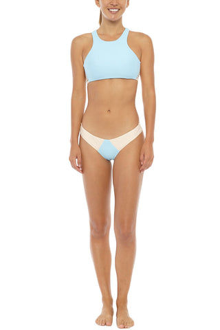 STONE FOX SWIM Venice High Neck Racerback Bikini Top - Sky Naked Block Bikini Top | Sky Naked Block| Stone Fox Swim Venice Bikini Top