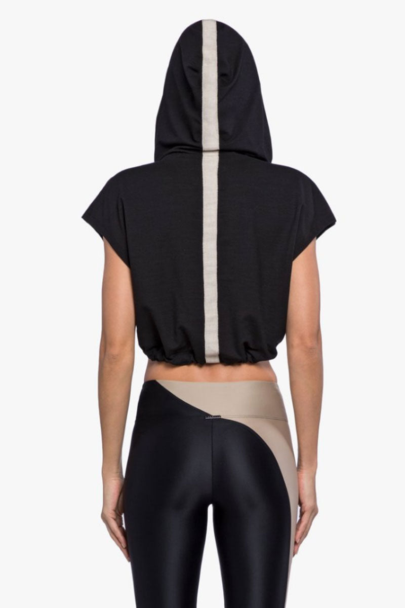 KORAL Stranger Daze Tencel Drawstring Hooded Crop Top - Black Top | Black| Koral Stranger Daze Hooded Top - Black. Features:  Relaxed fit Cropped drawcord waist Medium weight Daze tencel fabric Fabric taping on back and hood Made in USA Back View