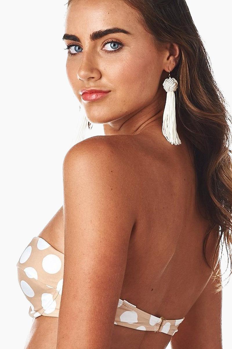 ea83355a924 ... MONTCE SWIM Strapless Bustier Bra Bikini Top - Beige & White Polka Dots  Print Bikini Top