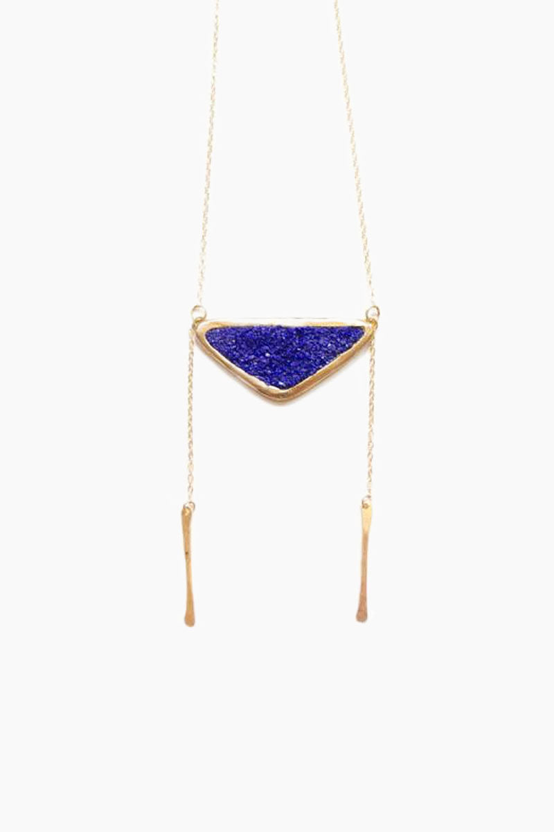 DEA DIA JEWELRY Strata Bolo Necklace - Blue Lapis Jewelry | Strata Bolo Necklace - Blue Lapis| Dea Dia Jewelry Chain drop detail three inch bar