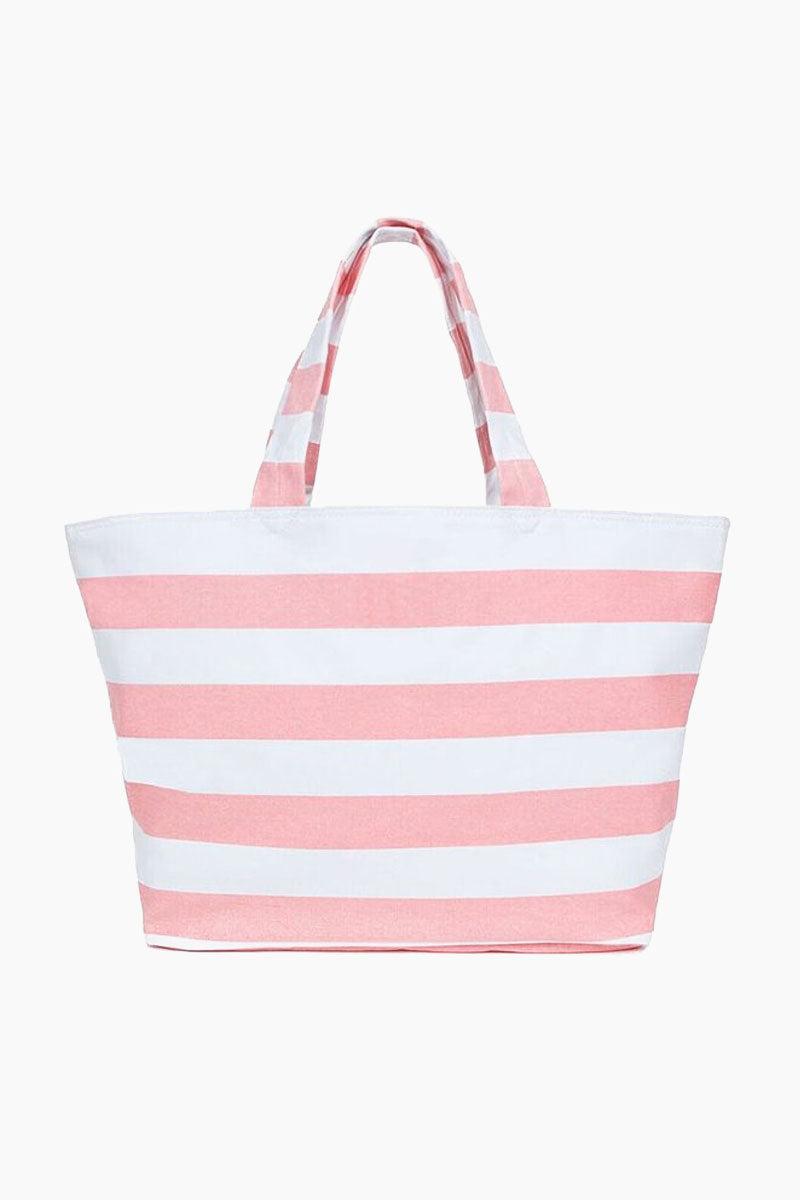 HELEN JON Stripe Tote - Pink/White Stripe Bag | Stripe Tote - Pink/White Stripe