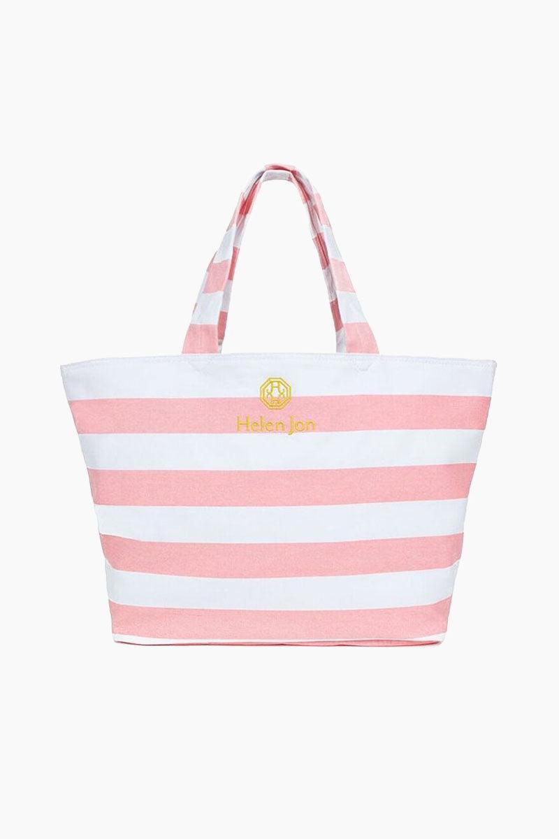 HELEN JON Stripe Tote - Pink/White Stripe Bag | Pink/White Stripe|Stripe Tote