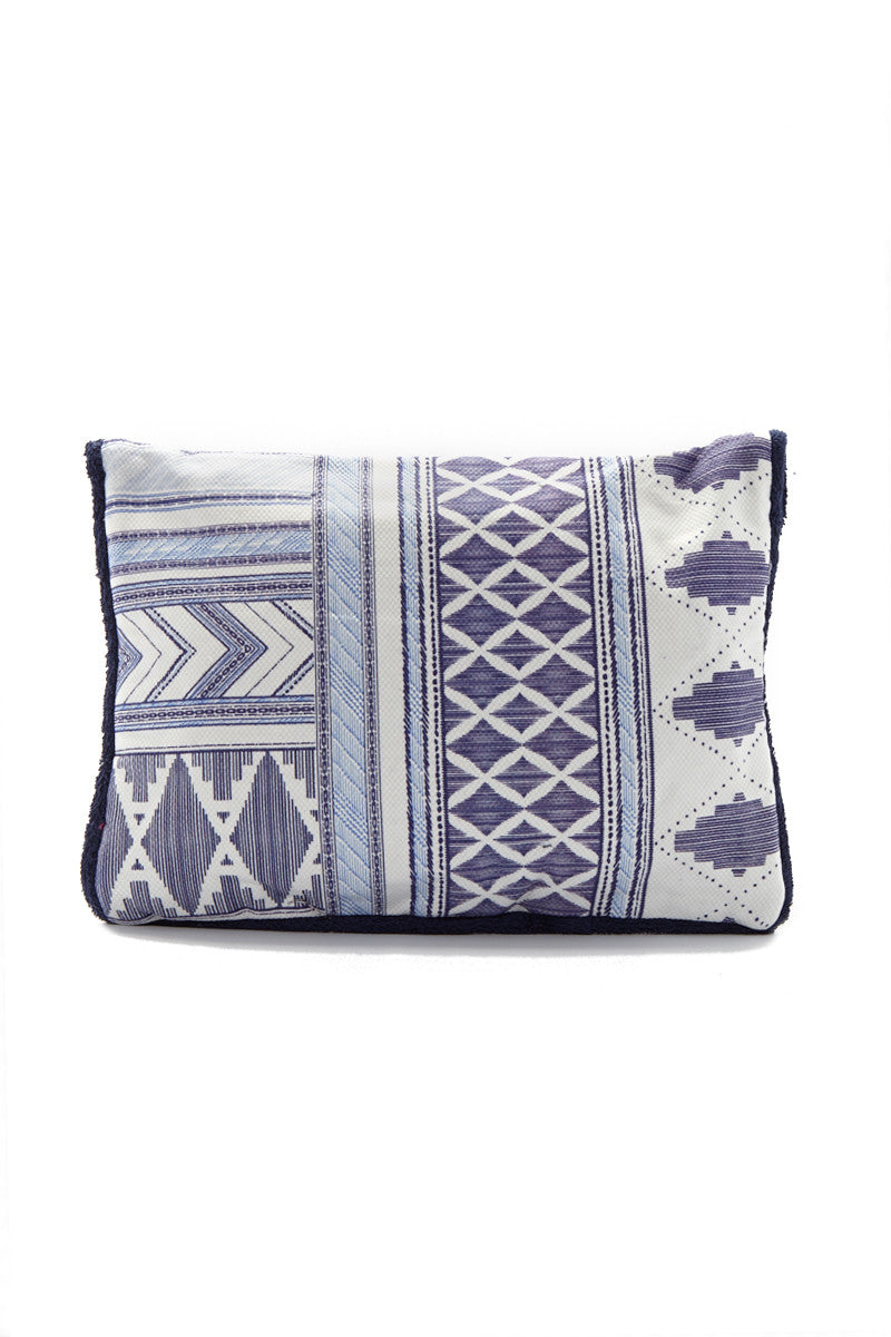 SUN OF A BEACH Caldera Pouch - Ocean Blue Geometric Print Bag | Ocean Blue Geometric Print| Sun Of A Beach Caldera Pouch - Ocean Blue Geometric Print Ocean blue geometric print beach pouch. Made from printed cotton canvas and lined with 100% Egyptian cotton towel. Decorated with a blue geometric print pattern Back View