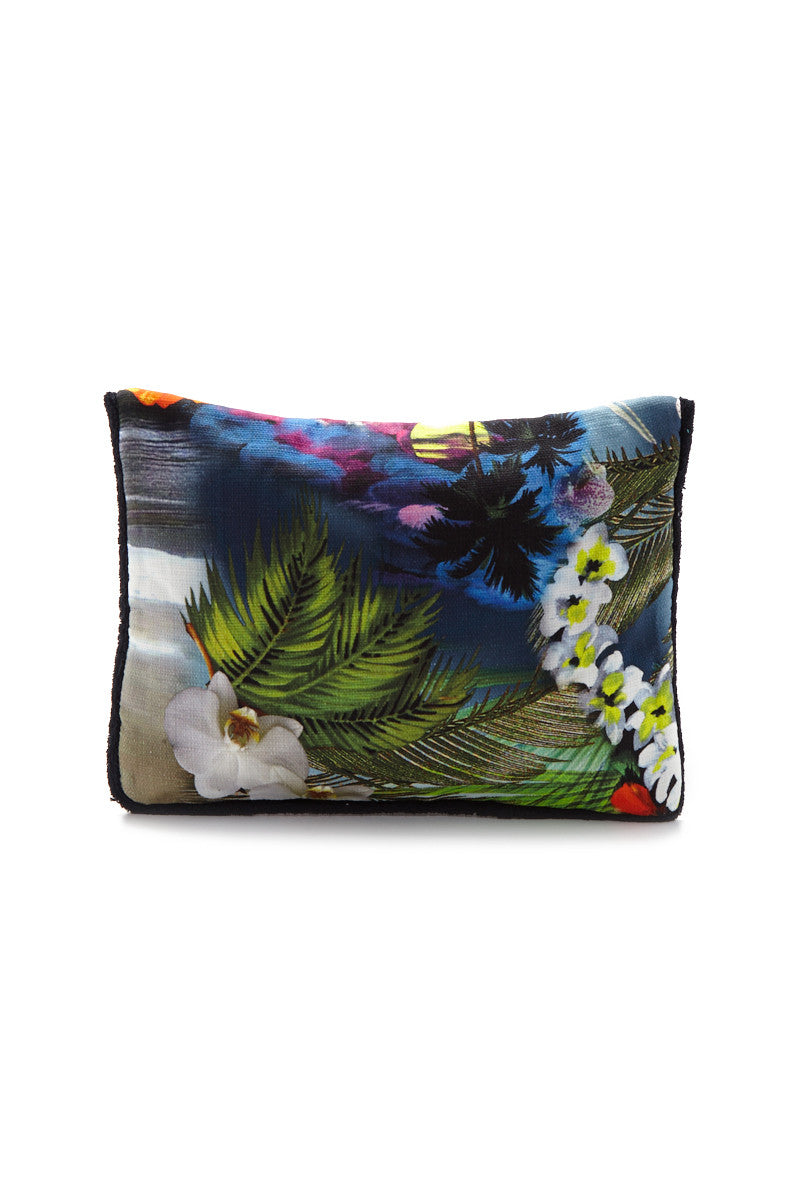 SUN OF A BEACH Hawaiian Tropic Pouch - Vibrant Tropical Print Bag | Vibrant Tropical Print| Sun Of A Beach Hawaiian Tropic Pouch - Vibrant Tropical Print Vibrant tropical print envelope pouch. Made from printed cotton canvas and lined with 100% Egyptian cotton towel. Back View