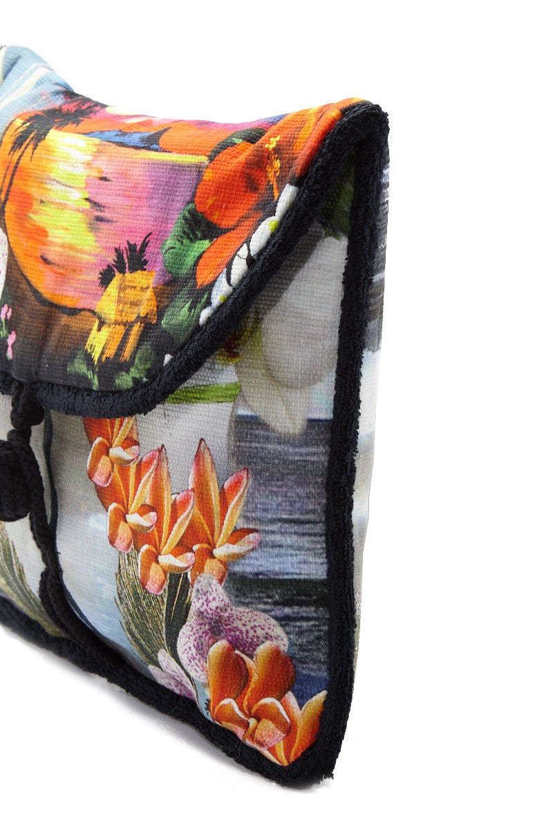 SUN OF A BEACH Hawaiian Tropic Pouch - Vibrant Tropical Print Bag | Vibrant Tropical Print| Sun Of A Beach Hawaiian Tropic Pouch - Vibrant Tropical Print Vibrant tropical print envelope pouch. Made from printed cotton canvas and lined with 100% Egyptian cotton towel. Front View
