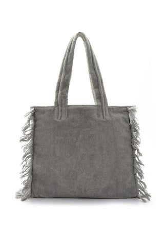 SUN OF A BEACH Fringe Poly Bag - Cool Grey Bag | Cool Grey| Sun Of A Beach Fringe Poly Bag - Cool Grey Cool grey multi-use poly bag with burnt out logo and fringe. Made from printed cotton canvas and lined with 100% Egyptian cotton towel, this bag can be folded and packed flat. Back View