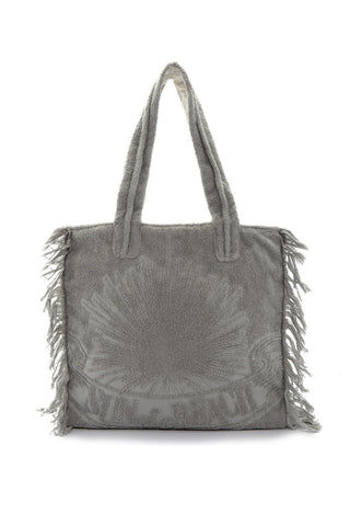 SUN OF A BEACH Fringe Poly Bag - Cool Grey Bag | Cool Grey| Sun Of A Beach Fringe Poly Bag - Cool Grey Cool grey multi-use poly bag with burnt out logo and fringe. Made from printed cotton canvas and lined with 100% Egyptian cotton towel, this bag can be folded and packed flat. Front View