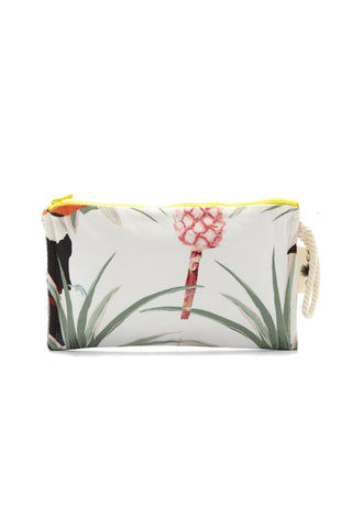 SUN OF A BEACH Pina Colada Passpartout Pouch - Tropical Paradise Print Bag | Tropical Paradise Print| Sun Of A Beach Pina Colada Passpartout Pouch - Tropical Paradise Print White tropical print multi-use pouch. This Hawaiian printed pouch brings paradise to every moment of the day. Made from printed cotton canvas, Front View