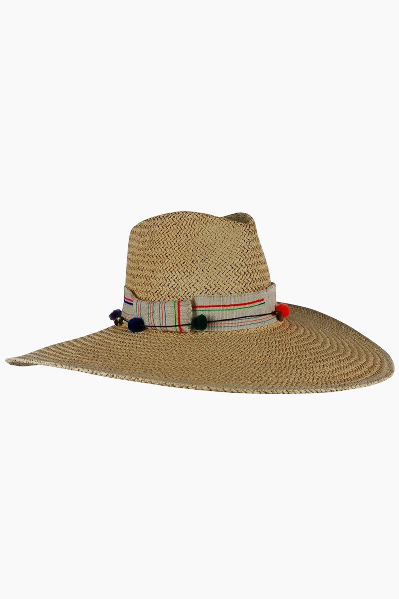HAT ATTACK Surfer Raffia Sun Hat - Natural Hat | Natural| Hat attack Surfer Sun Hat - Natural Features:  Lightweight floppy hat Decorative hatband with bow and pom pom detailing Raffia Spot clean Front View