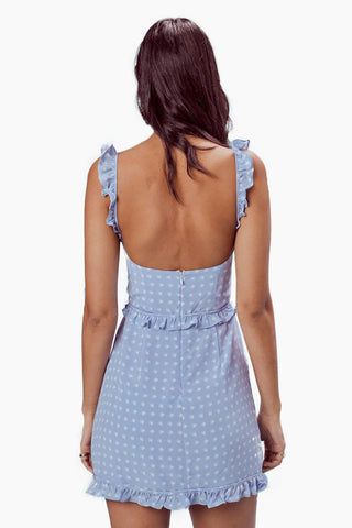 FOR LOVE AND LEMONS Sweetheart Mini Dress - Periwinkle Dress | Periwinkle|For Love And Lemons Sweetheart Mini Dress - Periwinkle Features:  Underwire Cups Ruffle Shoulder Straps Invisible Back Zipper Lined in Bodice Dry Clean Only Self: 52% Rayon/45% Viscose; Lining: 100% Polyester Back View