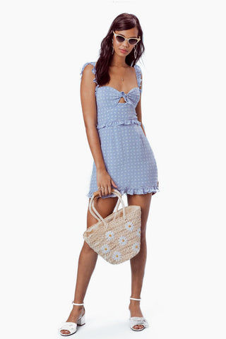 FOR LOVE AND LEMONS Sweetheart Mini Dress - Periwinkle Dress | Periwinkle|For Love And Lemons Sweetheart Mini Dress - Periwinkle Features:  Underwire Cups Ruffle Shoulder Straps Invisible Back Zipper Lined in Bodice Dry Clean Only Self: 52% Rayon/45% Viscose; Lining: 100% Polyester Front View