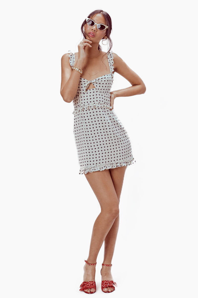 FOR LOVE AND LEMONS Sweetheart Mini Dress - Crème Heart Print Dress | Crème| For Love And Lemons Sweetheart Mini Dress - Crème Underwire Cups Ruffle Shoulder Straps Invisible Back Zipper Lined in Bodice Dry Clean Only Self: 52% Rayon/45% Viscose; Lining: 100% Polyester Front View