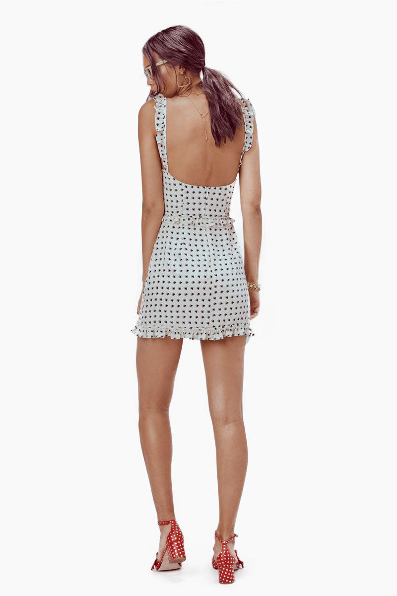 FOR LOVE AND LEMONS Sweetheart Mini Dress - Crème Heart Print Dress | Crème| For Love And Lemons Sweetheart Mini Dress - Crème Underwire Cups Ruffle Shoulder Straps Invisible Back Zipper Lined in Bodice Dry Clean Only Self: 52% Rayon/45% Viscose; Lining: 100% Polyester Back View