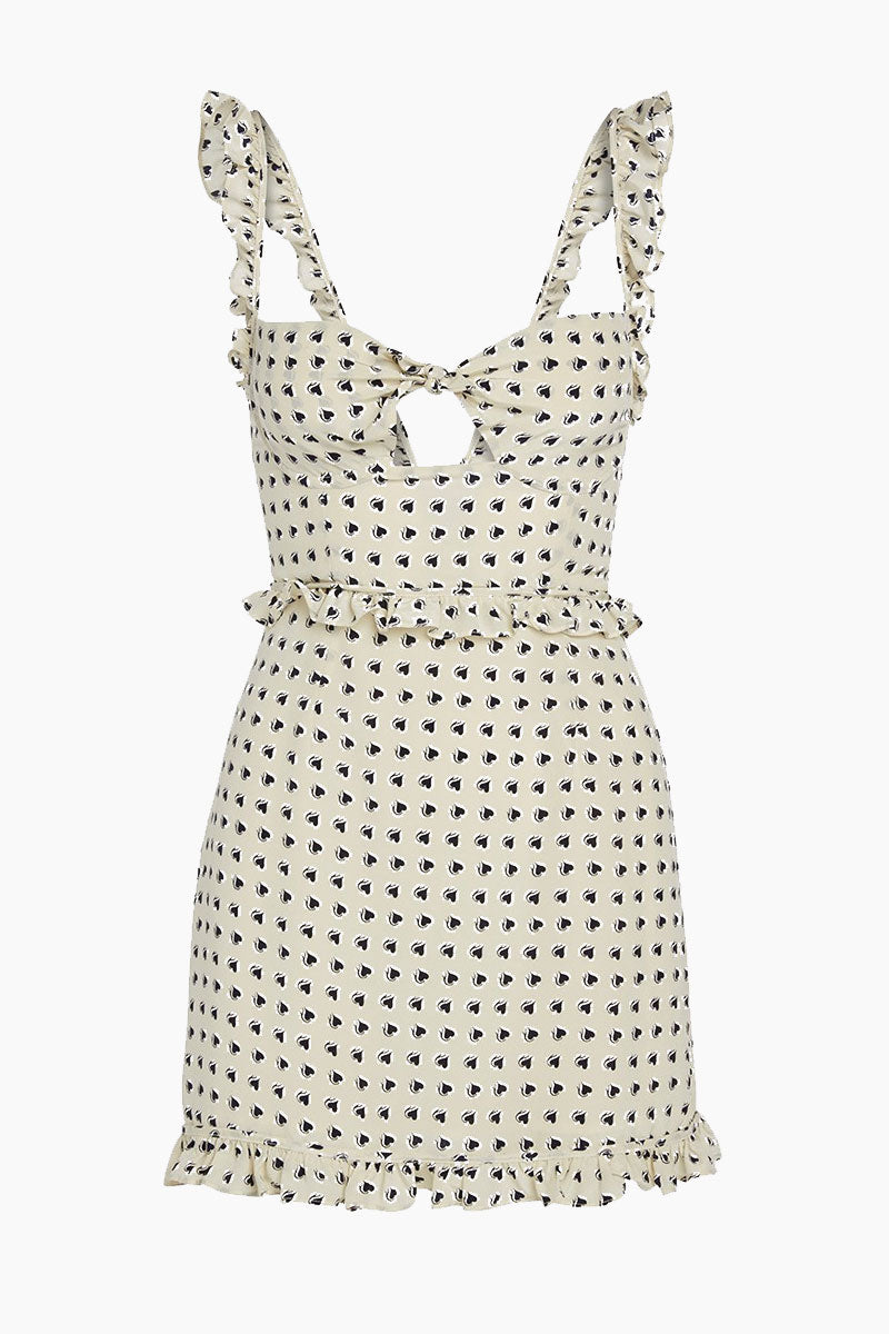 FOR LOVE AND LEMONS Sweetheart Mini Dress - Crème Heart Print Dress | Crème| For Love And Lemons Sweetheart Mini Dress - Crème Underwire Cups Ruffle Shoulder Straps Invisible Back Zipper Lined in Bodice Dry Clean Only Self: 52% Rayon/45% Viscose; Lining: 100% Polyester Flatlay View