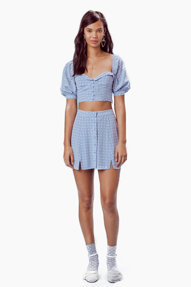 FOR LOVE AND LEMONS Sweetheart Crop Top - Periwinkle Top | Periwinkle|For Love And Lemons Sweetheart Crop Top - Periwinkle Features:  Underwire Crop Top Sweetheart neckline Fixed Center Front Button Detail Puff Sleeves Invisible Side Zipper Dry Clean Only Front View