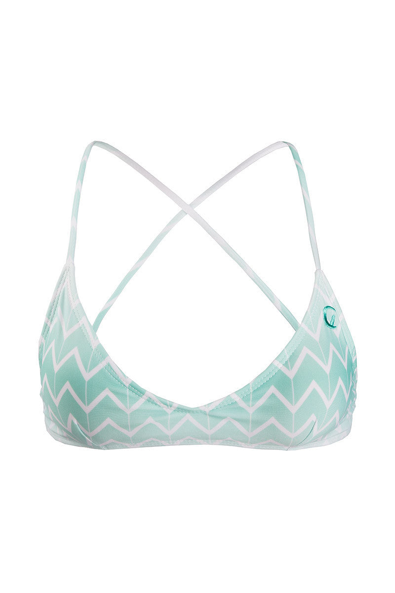KOVEY Kovey Swell Criss Cross Back Bralette Bikini Top - Currents Blue Zig Zag Print Bikini Top | Currents Blue Zig Zag Print| Kovey Swell Criss Cross Back Bralette Bikini Top - Currents Blue Zig Zag Print Cross back top with removable padding Certain colors have contrast color lining Ties at neck and back Adjustable Front View