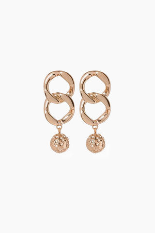 "LUV AJ The Chain Link Hammered Ball Drop Earrings - Rose Gold Jewelry | Rose Gold| Luv Aj The Chain Link Hammered Ball Earrings - Rose Gold. Features: Pair of chain link earrings with a hammered ball  Posts are made from surgical steel so they are very hypo-allergenic Earrings are Approx. 2.5"" long Made from Brass Plated in Gold Front view"