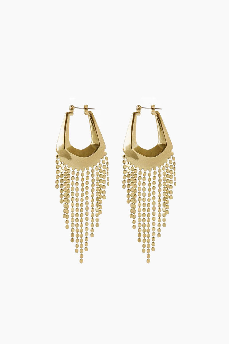 """LUV AJ The Faceted Fringe Statement Hoops - Gold Jewelry 