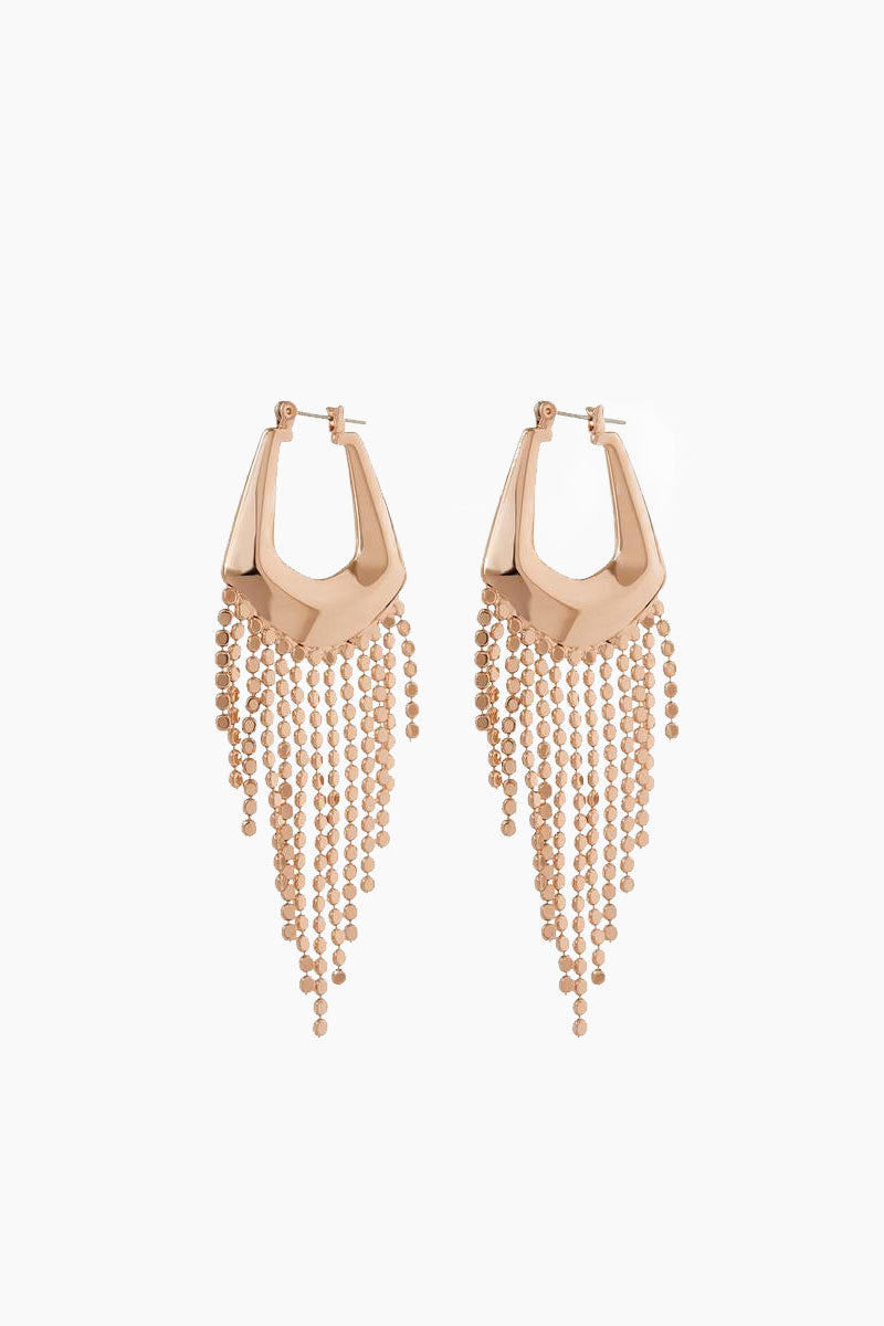"LUV AJ The Faceted Fringe Statement Hoops - Rose Gold Jewelry | Rose Gold| Luv Aj The Faceted Fringe Statement Hoops - Rose Gold. Features:  Pair of faceted statement hoops with hanging disco fringe chain Posts are made from surgical steel so they are very hypo-allergenic Hoops are Approx. 3.5"" tall Made from Brass Plated in Rose Gold Front View"