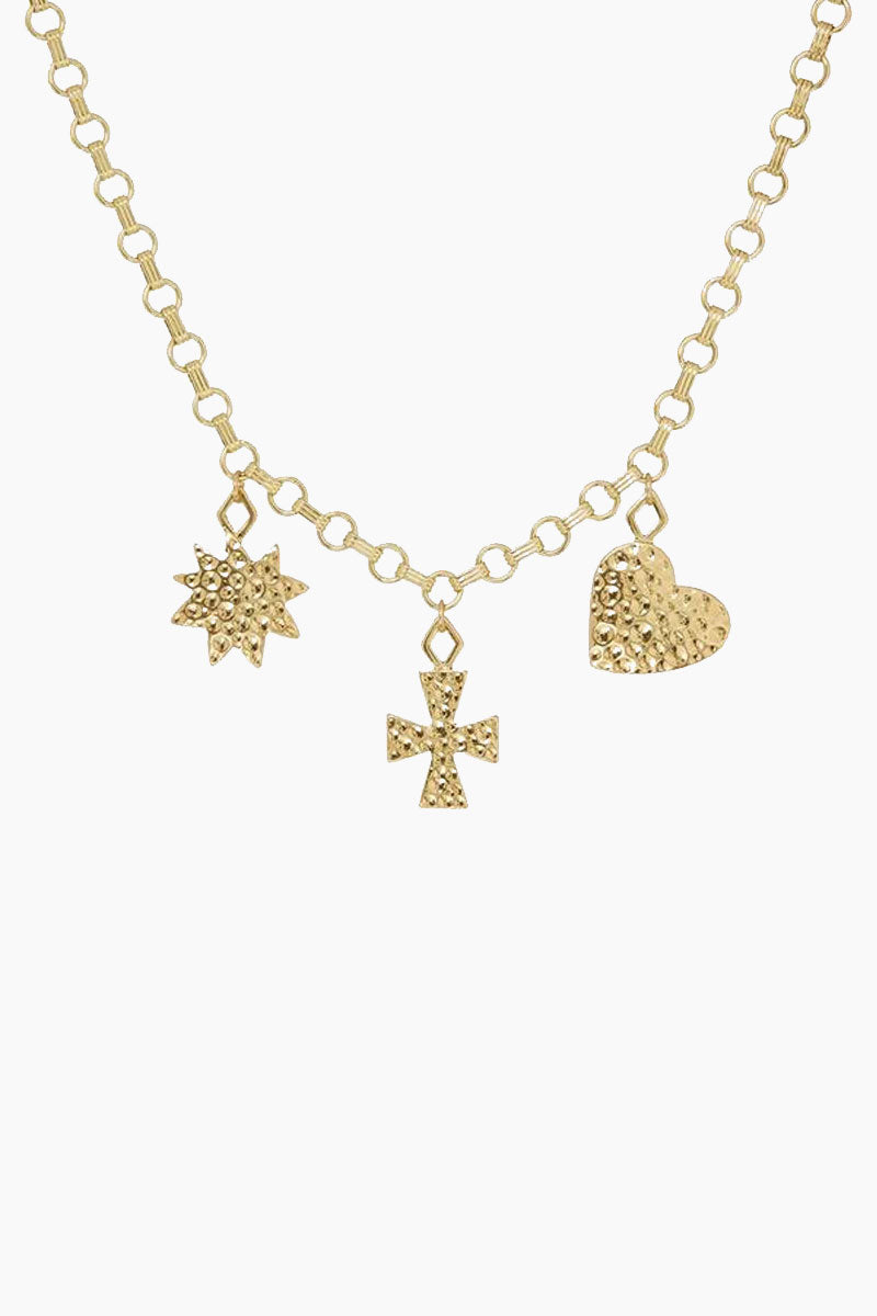 "LUV AJ The Hammered Charm Necklace - Gold Jewelry | Gold| Luv Aj The Hammered Charm Necklace - Gold. Features:  Statement chain with hammered charms- a cross, a heart, and a star Necklace is 30"" long with S clasp Can be work as a necklace or belt Made from Brass Plated in Gold Front View"