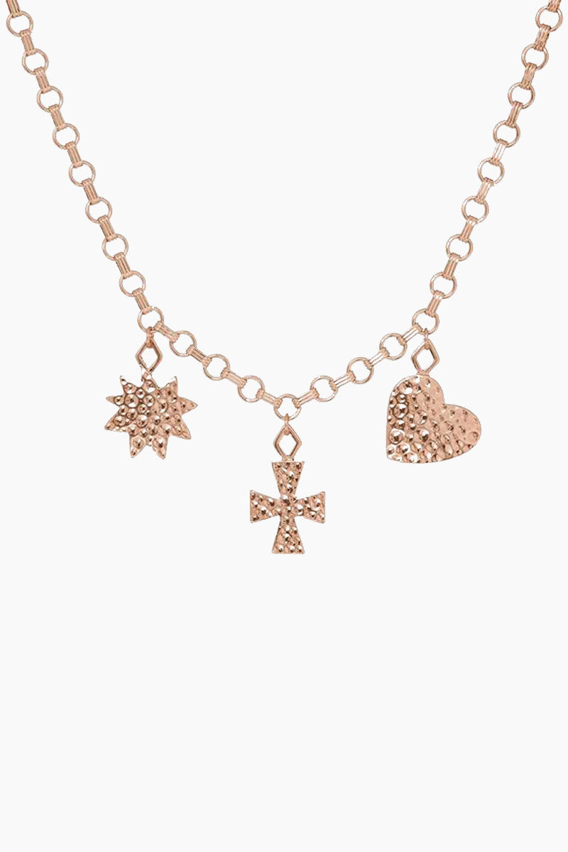 """LUV AJ The Hammered Charm Necklace - Rose Gold Jewelry 