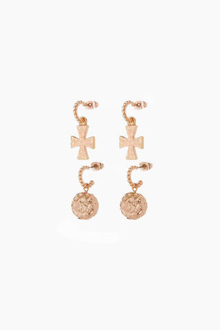 LUV AJ The Hammered Cross + Ball Hoop Earrings (Set of 4) - Rose Gold Jewelry | Rose Gold| Luv Aj The Hammered Cross + Ball Hoops Set - Rose Gold. Features:  A set of 4 mini hoops with hammered cross + ball charms Posts are made from surgical steel so they are very hypo-allergenic Sold as a Set of 4 Front View