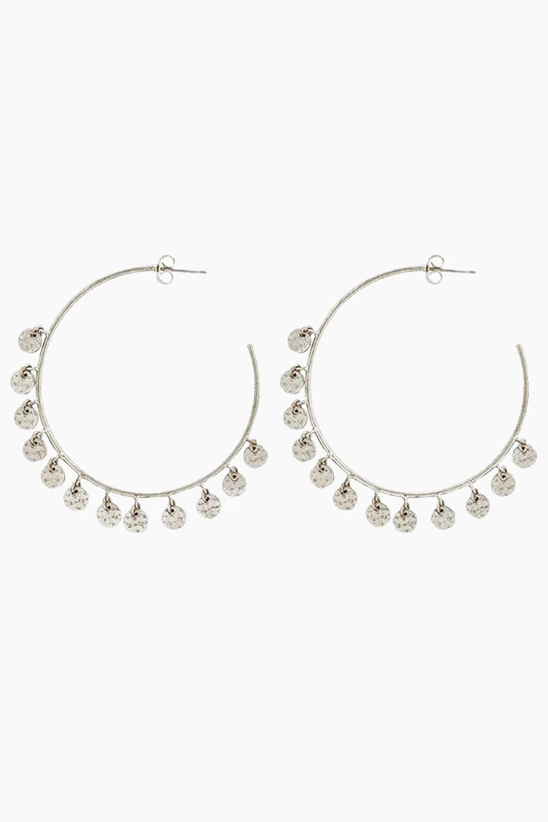 """LUV AJ The Hammered Disc Hoops - Silver Jewelry   Silver  Luv Aj The Hammered Disc Hoops - Silver. Features:  Thin statement hoops with hanging hammered discs Posts are made from surgical steel so they are very hypo-allergenic Hoops are Approx. 3"""" tall Made from Brass Plated in Silver Front View"""