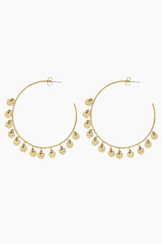 "LUV AJ The Hammered Disc Hoop Earrings - Gold Jewelry | Gold| Luv Aj The Hammered Disc Hoops - Gold. Features:  Thin statement hoops with hanging hammered discs Posts are made from surgical steel so they are very hypo-allergenic Hoops are Approx. 3"" tall Made from Brass Plated in Gold Front View"