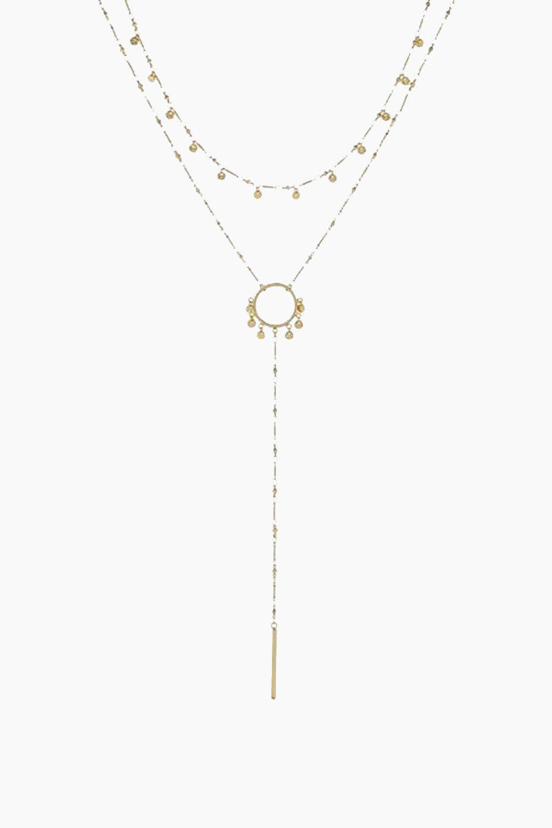 "LUV AJ The Hammered Disc Lariat Necklace - Gold Jewelry | Gold| Luv Aj The Hammered Disc Lariat - Gold. Features: Double chain lariat necklace with hanging hammered discs The chains are connected to be worn together Lariat is 18"" long with 6"" drop. Top chain is 16"" long  Lariat is connected with 3"" extender chain for adjustability  Made from Brass Plated in Gold Front View"