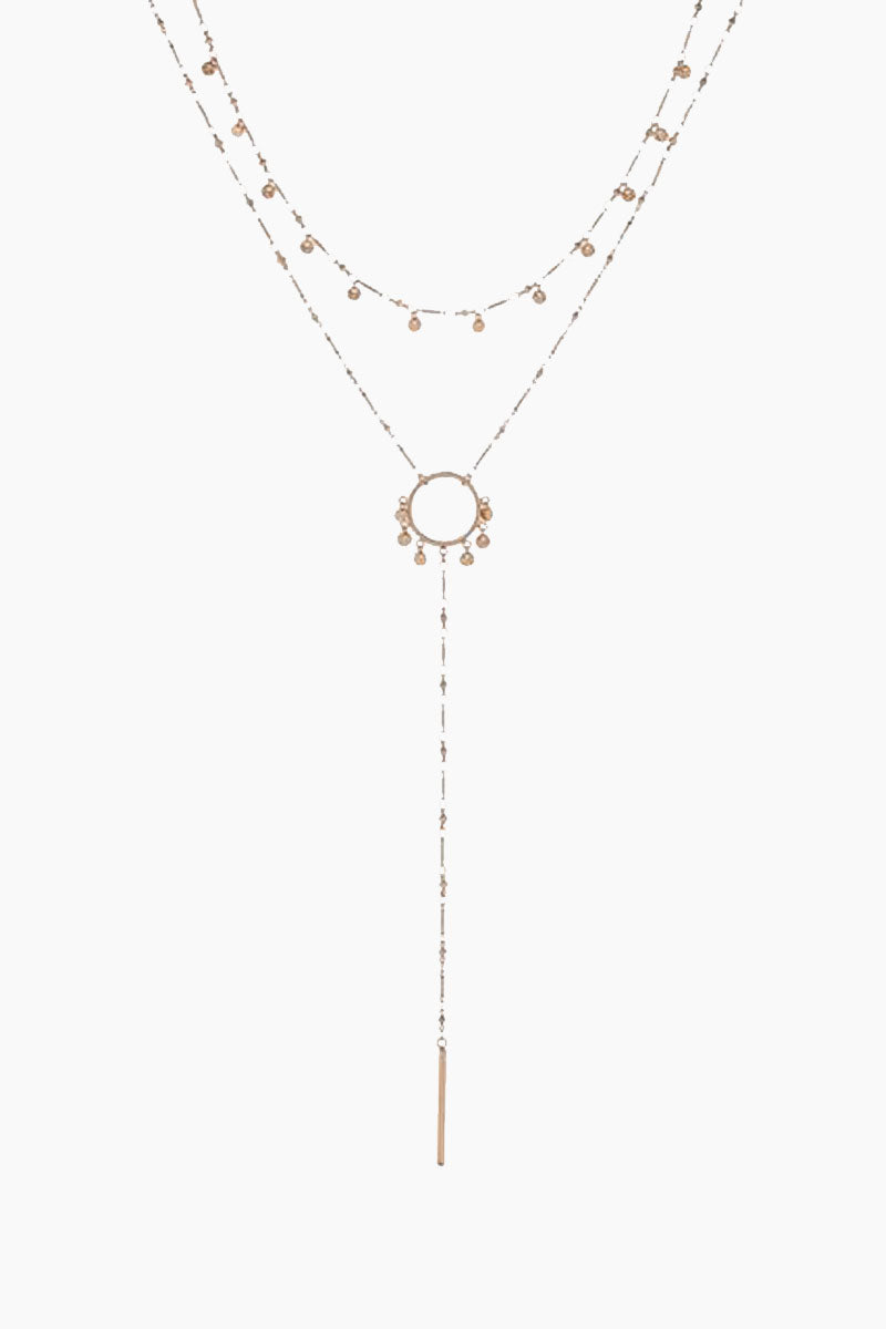 """LUV AJ The Hammered Disc Lariat - Rose Gold Jewelry 